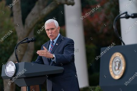 United States Vice President Mike Pence delivers remarks during an update on Operation Warp Speed during a press conference in the Rose Garden of the White House in Washington, DC. OWS is a public private partnership, initiated by the Trump administration, to facilitate and accelerate the development, manufacturing, and distribution of COVID-19 vaccines, therapeutics, and diagnostics.