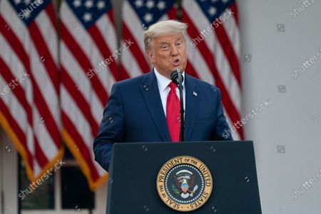 Stock Photo of United States President Donald J. Trump delivers an update on Operation Warp Speed during a press conference in the Rose Garden of the White House in Washington, DC. OWS is a public private partnership, initiated by the Trump administration, to facilitate and accelerate the development, manufacturing, and distribution of COVID-19 vaccines, therapeutics, and diagnostics.
