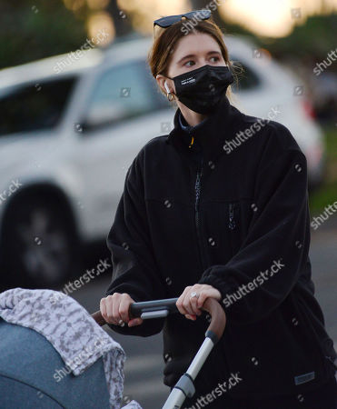 Stock Picture of Exclusive - Katherine Schwarzenegger wearing a mask that says 'I am a voter' takes daughter Lyla Maria Pratt for an late afternoon walk in Santa Monica