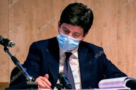 "Italian health minister, Roberto Speranza, wearing a protective mask during the presentation meeting of Maurizio Martina's book ""Cibo Sovrano"" (Sovereign Food), at the Frentani Congress Centre."