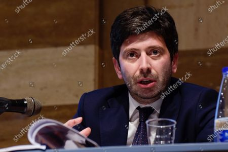 Editorial photo of Roberto Speranza during a book presentation in Rome, Italy.