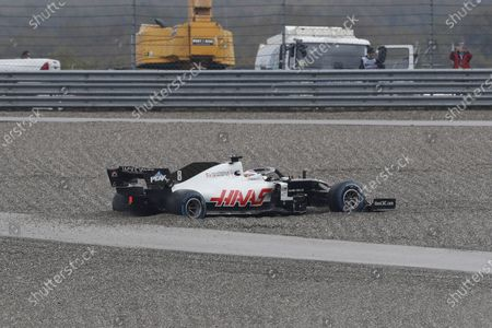 French Formula One driver Romain Grosjean of Haas F1 Team sins off the track during the qualifying practice session of the Formula One Grand of Turkey on the Intercity Istanbul Park circuit, Istanbul, Turkey, 14 November 2020. The Formula One Grand of Turkey will take place on 15 November 2020.