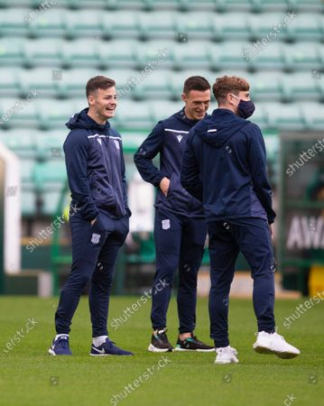 Danny Mullen, Jordan Marshall and Finlay Robertson of Dundee inspect the pitch before the match; Easter Road, Edinburgh, Scotland; Scottish League Cup Football, Hibernian versus Dundee FC.