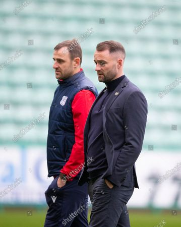 Stock Photo of Dundee assistant manager Dave Mackay and manager James McPake inspect the pitch before the match; Easter Road, Edinburgh, Scotland; Scottish League Cup Football, Hibernian versus Dundee FC.
