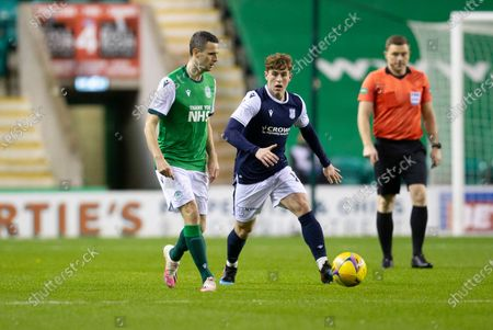Jamie Murphy of Hibernian taken on by Finlay Robertson of Dundee; Easter Road, Edinburgh, Scotland; Scottish League Cup Football, Hibernian versus Dundee FC.