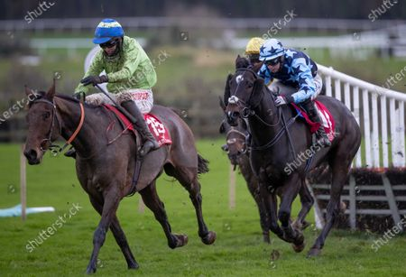 Stock Image of Danny Mullins on Exciting Oscar clears the last to win The Barry Geraghty`s Autobiography `True Colours` Handicap Hurdle