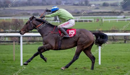 Stock Photo of Danny Mullins on Exciting Oscar wins The Barry Geraghty`s Autobiography `True Colours` Handicap Hurdle