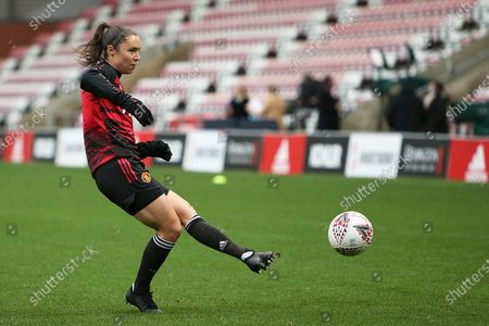 Stock Image of Manchester United forward Jane Ross (19) warming up during the FA Women's Super League match between Manchester United Women and Manchester City Women at Leigh Sports Village, Leigh