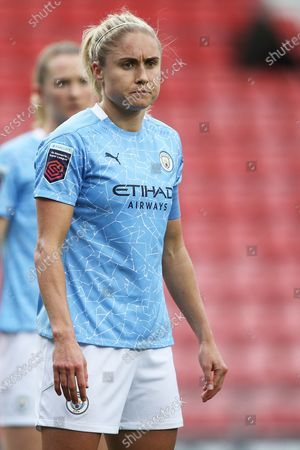 Manchester City defender Steph Houghton (6) Portrait half body during the FA Women's Super League match between Manchester United Women and Manchester City Women at Leigh Sports Village, Leigh