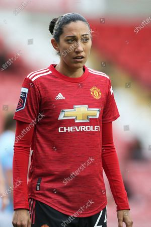 Stock Photo of Manchester United forward Christen Press (24) Portrait half body during the FA Women's Super League match between Manchester United Women and Manchester City Women at Leigh Sports Village, Leigh