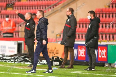 Peterborough Utd Manager Darren Ferguson gives instructions during the EFL Sky Bet League 1 match between Crewe Alexandra and Peterborough United at Alexandra Stadium, Crewe