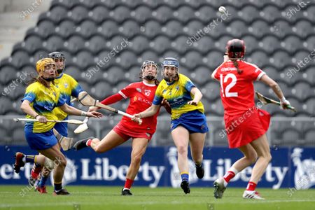 Clare vs Cork. Cork's Amy O'Connor and Clare Hehir of Clare