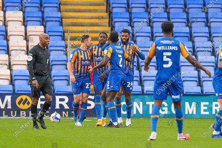 GOAL 1-0. Aaron Pierre of Shrewsbury Town scores and celebrates the first goal of the game during the EFL Sky Bet League 1 match between Shrewsbury Town and Swindon Town at Greenhous Meadow, Shrewsbury
