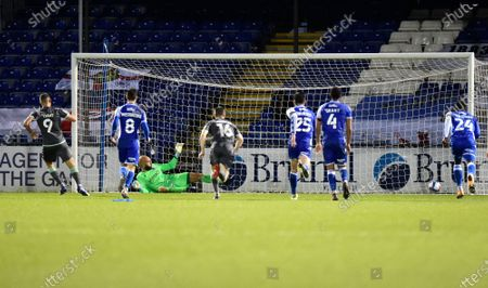 Goal 1-4 - Ched Evans (9) of Fleetwood Town scores from the penalty spot during the EFL Sky Bet League 1 match between Bristol Rovers and Fleetwood Town at the Memorial Stadium, Bristol