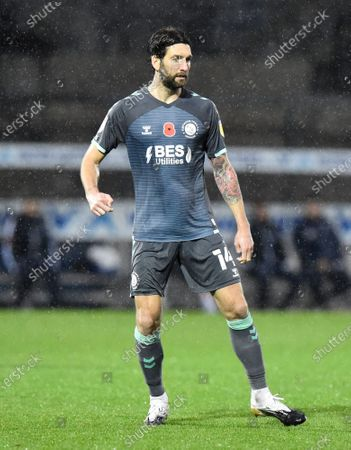 Charlie Mulgrew (14) of Fleetwood Town during the EFL Sky Bet League 1 match between Bristol Rovers and Fleetwood Town at the Memorial Stadium, Bristol