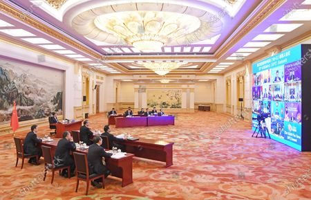 Chinese Premier Li Keqiang attends the 23rd leaders' meeting of the Association of Southeast Asian Nations (ASEAN) plus China, Japan and the Republic of Korea (ROK) (ASEAN Plus Three), which is held via video link, at the Great Hall of the People in Beijing, capital of China, Nov. 14, 2020.