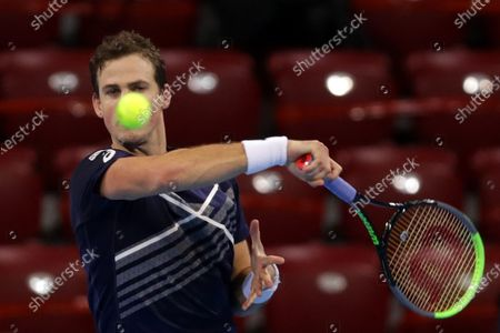 Canada's Vasek Pospisil in action during his final match against Italy's Jannik Sinner during the Sofia Open ATP 250 tennis tournament.