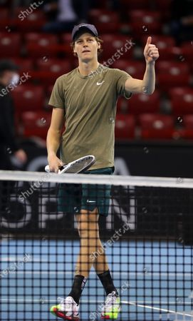 Italy's Jannik Sinner celebrates after winning his final match against Canada's Vasek Pospisil during the Sofia Open ATP 250 tennis tournament.
