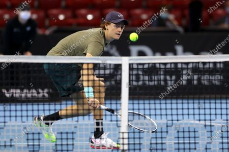 Italy's Jannik Sinner in action during his final match against Canada's Vasek Pospisil during the Sofia Open ATP 250 tennis tournament.