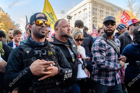 'Proud Boys' leader Enrique Tarrio and Infowars host Alex Jones are seen as Trump supporters gather at Freedom Plaza for the 'Million MAGA March' on November 14, 2020 in Washington, DC.