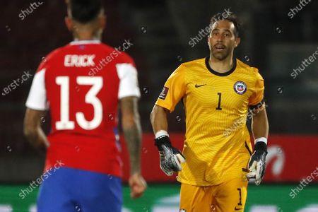 Claudio Bravo of Chile; National Stadium of Santiago, Santiago, Chile; World Cup 2020 Football qualification, Chile versus Peru.