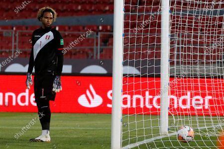Pedro Gallese of Peru dejected at the goal scored by Arturo Vidal of Chile (out of picture) in the 20th minute 1-0; National Stadium of Santiago, Santiago, Chile; World Cup 2020 Football qualification, Chile versus Peru.