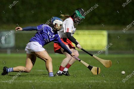 Stock Image of Cavan vs Tyrone. Cavan's Roisin O'Keefe and Aisling Jordan of Tyrone