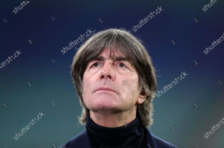 German manager Joachim Low is interviewed ahead of the UEFA Nations League soccer match between Germany and the Ukraine at the Red Bull Arena in Leipzig, Germany