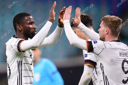Germany's Timo Werner (R) celebrates with teammate Antonio Ruediger (L) after scoring the 2-1 lead during the UEFA Nations League soccer match between Germany and Ukraine in Leipzig, Germany, 14 November 2020.