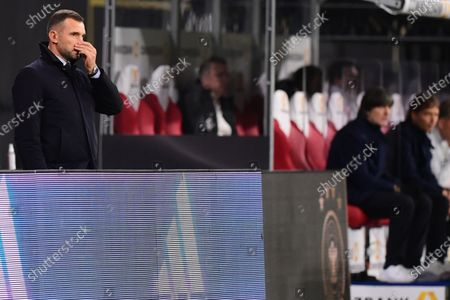 Ukraine's head coach Andriy Shevchenko (L) reacts during the UEFA Nations League soccer match between Germany and Ukraine in Leipzig, Germany, 14 November 2020.