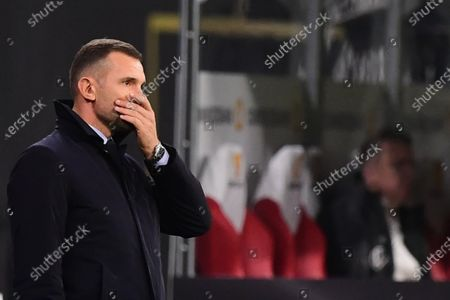 Ukraine's head coach Andriy Shevchenko reacts during the UEFA Nations League soccer match between Germany and Ukraine in Leipzig, Germany, 14 November 2020.