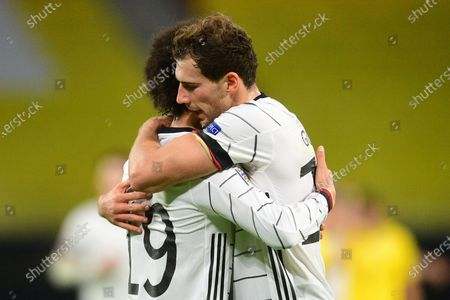 Germany's Leroy Sane (L) celebrates with teammate Leon Goretzka (R) after scoring the 1-1 equalizer during the UEFA Nations League soccer match between Germany and Ukraine in Leipzig, Germany, 14 November 2020.