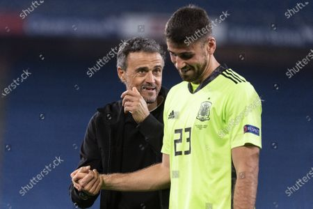 Spain's head coach Luis Enrique (L) and goalkeeper Unai Simon (R) react after the UEFA Nations League soccer match between Switzerland and Spain at St. Jakob-Park stadium in Basel, Switzerland, 14 November 2020.
