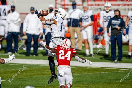 Lincoln, NE. U.S. - Penn State Nittany Lions linebacker Brandon Smith #12 makes a 4th quarter interception during a NCAA Division 1 football game between Penn State Nittany Lions and the Nebraska Cornhuskers at Memorial Stadium in Lincoln, NE. .Nebraska won 30-23
