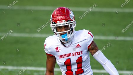 Fresno State Bulldogs wide receiver Josh Kelly (11) lines up during an NCAA football game on in Logan, Utah