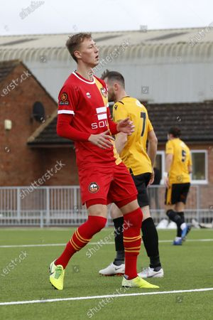 Stock Image of Ben Morgan (#23 Gloucester City AFC) reacts to missing a shot during the Vanarama National League North game between Gloucester City AFC and Bradford (Park Avenue) AFC at New Meadow Park