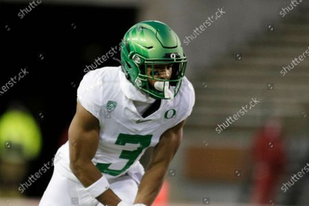 Oregon wide receiver Johnny Johnson III (3) lines up for a play during the second half of an NCAA college football game against Washington State in Pullman, Wash., . Oregon won 43-29
