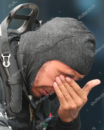 British Formula One driver Lewis Hamilton of Mercedes-AMG Petronas reacts after winning the 2020 Formula One Grand of Turkey at the Intercity Istanbul Park circuit, Istanbul, Turkey, 15 November 2020. Lewis Hamilton has clinched Formula One drivers' championship for the seventh time in his career, to equal with German Michael Schumacher, who set the record in 2004.