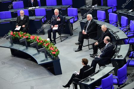 (L-R) German War Graves Commission President Wolfgang Schneiderhan, Britain's Prince Charles, Prince Charles, German President Frank-Walter Steinmeier, the president of the German Parliament Bundestag Wolfgang Schauble, President of the German Federal Council Bundesrat Reiner Haseloff and German Defense Minister Annegret Kramp-Karrenbauer during a memorial ceremony at the German parliament Bundestag to commemorate the national day of mourning for the victims of war and dictatorship in Berlin, Germany, 15 November 2020. The British royal couple are scheduled to attend events 15 November on Germany's National Day of Mourning that commemorates victims of war and fascism, during which Prince Charles is to give a speech at the Bundestag.