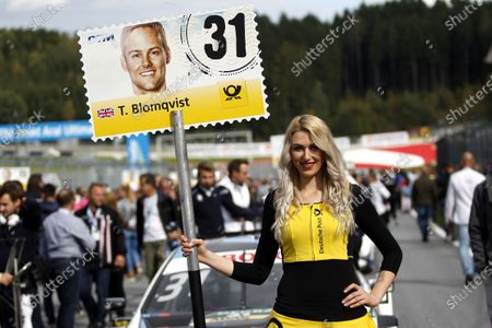 2017 DTM Round 8  Red Bull Ring, Spielberg, Austria  Sunday 24 September 2017. Grid girl of Tom Blomqvist, BMW Team RBM, BMW M4 DTM  World Copyright: Alexander Trienitz/LAT Images