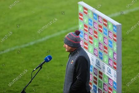 Stock Image of Galway vs Mayo. Mayo manager James Horan is interviewed ahead of the game