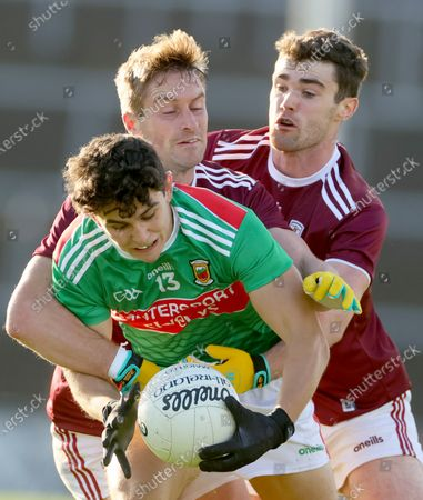 Galway vs Mayo. Mayo's Tommy Conroy with Gary O'Donnell and Sean Mulkerry of Galway