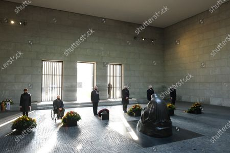 (L-R) German Defense Minister Annegret Kramp-Karrenbauer, Bundestag President Wolfgang Schaeuble, Britain's Prince Charles, the Prince of Wales, German President Frank-Walter Steinmeier, Bundesrat President Reiner Haseloff and Federal Constitutional Court President Stephan Harbarth stand next to wreaths at the Neue Wache memorial to victims of war and tyranny to commemorate the national day of mourning for the victims of war and dictatorship in Berlin, Germany, 15 November 2020. The British royal couple are scheduled to attend events 15 November on Germany's National Day of Mourning that commemorates victims of war and fascism, during which Prince Charles is to give a speech at the Bundestag.