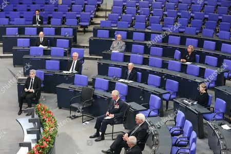 Prince Charles (centre) and President Frank-Walter Steinmeier (third from left) in the Bundestag (German Federal Parliament), for the Central Remembrance Ceremony to mark the National Day of Mourning.