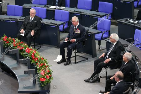 Prince Charles (second from left) and President Frank-Walter Steinmeier (third from left) in the Bundestag (German Federal Parliament), for the Central Remembrance Ceremony to mark the National Day of Mourning.