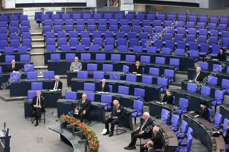 Prince Charles (centre) and President Frank-Walter Steinmeier (fourth from left) in the Bundestag (German Federal Parliament), for the Central Remembrance Ceremony to mark the National Day of Mourning.