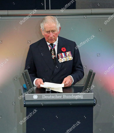 Prince Charles giving a speech in the Bundestag (German Federal Parliament), for the Central Remembrance Ceremony to mark the National Day of Mourning.