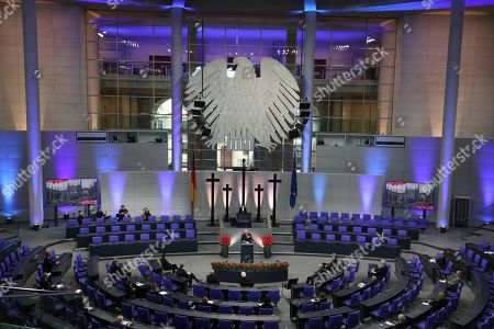 Prince Charles (centre) giving a speech in the Bundestag (German Federal Parliament), for the Central Remembrance Ceremony to mark the National Day of Mourning.