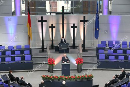 Stock Photo of Prince Charles (centre) giving a speech in the Bundestag (German Federal Parliament), for the Central Remembrance Ceremony to mark the National Day of Mourning.