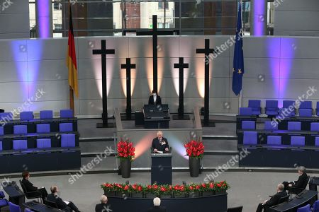 Stock Picture of Prince Charles (centre) giving a speech in the Bundestag (German Federal Parliament), for the Central Remembrance Ceremony to mark the National Day of Mourning.